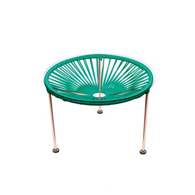 Cobby End Table Table Base Color: Copper, Table Top Color: Turquoise