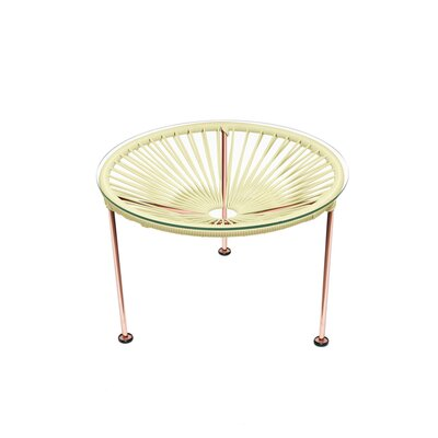 Cobby End Table Table Base Color: Copper, Table Top Color: Ivory