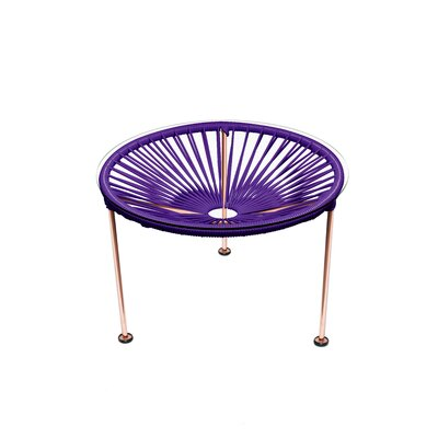 Cobby End Table Table Base Color: Copper, Table Top Color: Purple