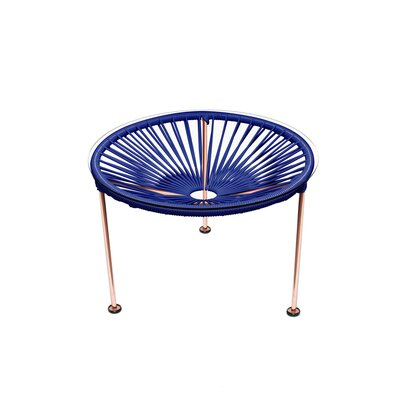 Cobby End Table Table Base Color: Copper, Table Top Color: Deep Blue