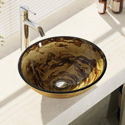 Golden and Auburn Glass Circular Vessel Sink Faucet Finish: Chrome