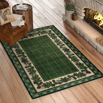Cadell Pine Green Area Rug Rug Size: Rectangle 5 x 8