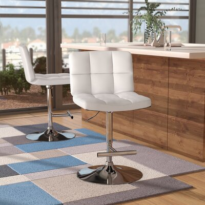 Alandra Adjustable Height Swivel Bar Stool (Set of 2) Upholstery: White