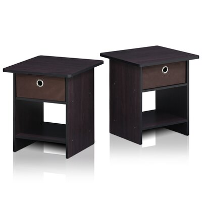 Pelkey Storage Shelf with Bin Drawer End Table Color: Dark Walnut