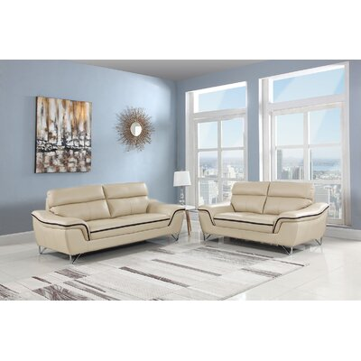 Trower 2 Piece Living Room Set Upholstery: Beige