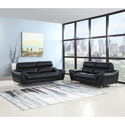 Trower 2 Piece Living Room Set Upholstery: Black