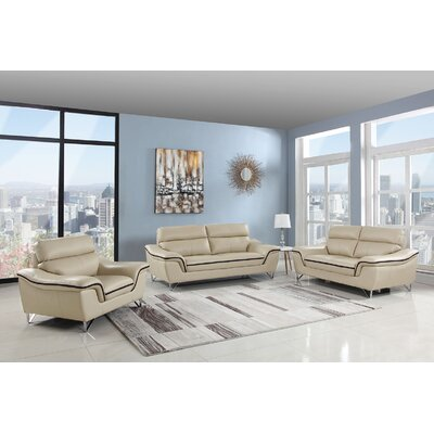 Hawks Upholstery 3 Piece Living Room Set Upholstery: Beige