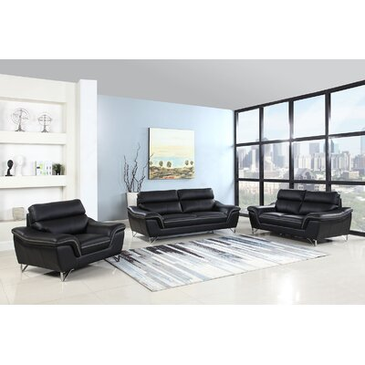 Hawks Upholstery 3 Piece Living Room Set Upholstery: Black