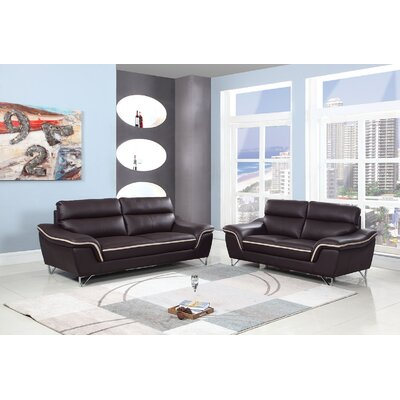 Trower 2 Piece Living Room Set Upholstery: Brown