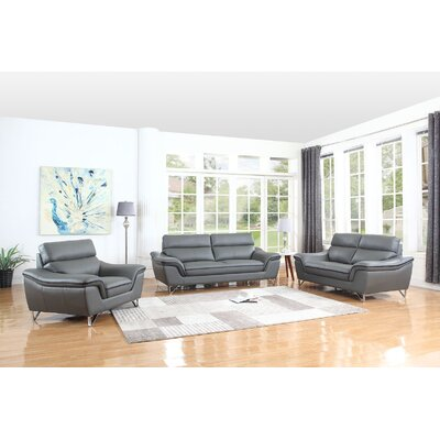 Hawks Upholstery 3 Piece Living Room Set Upholstery: Gray