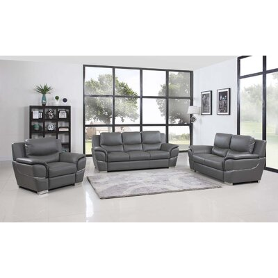 Trower Upholstered 3 Piece Living Room Set Upholstery: Gray