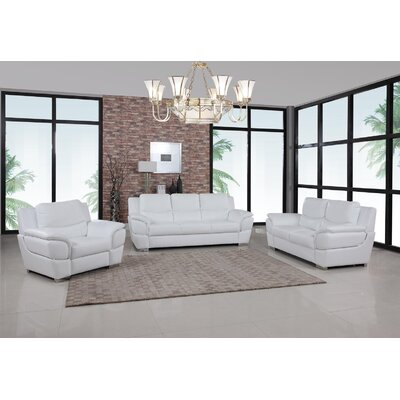 Trower Upholstered 3 Piece Living Room Set Upholstery: White