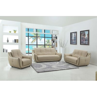 Henthorn 3 Piece Living Room Set Upholstery: Beige
