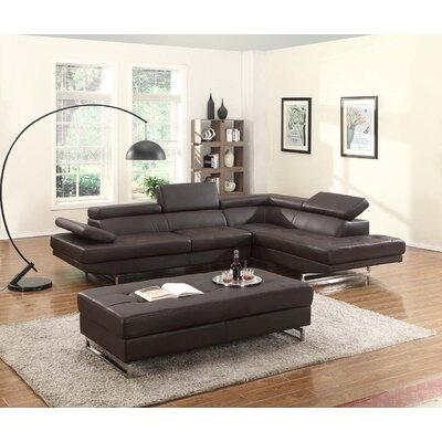 Ordaz Air Sectional Orientation: Right Hand Facing, Upholstery: Black