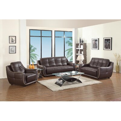 Henthorn 3 Piece Living Room Set Upholstery: Brown