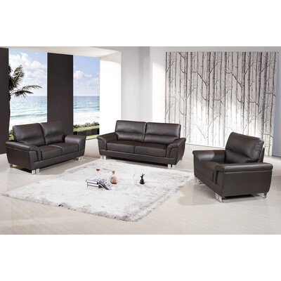 Hawker Upholstered 3 Piece Living Room Set Upholstery: Brown