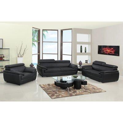 Trower Upholstered 3 Piece Living Room Set Upholstery: Black