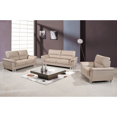 Hawker Upholstered 3 Piece Living Room Set Upholstery: Beige