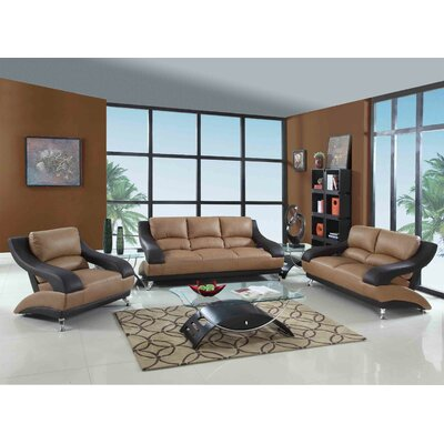 Henshaw Luxury Upholstered 3 Piece Living Room Set