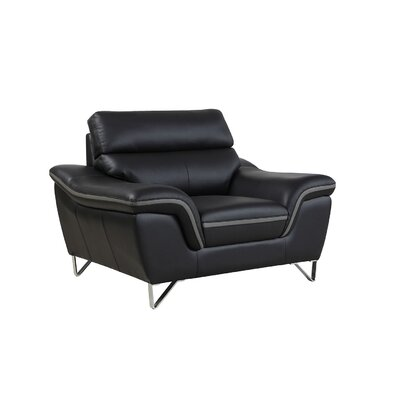 Hawks Upholstered Living Room Club Chair Upholstery: Black