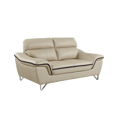 Hawks Luxury Upholstered Living Room Loveseat Upholstery: Beige