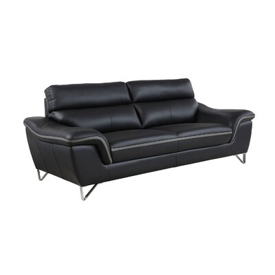 Hawks Luxury Upholstered Living Room Sofa Upholstery: Black