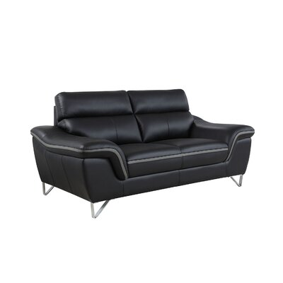 Hawks Luxury Upholstered Living Room Loveseat Upholstery: Black