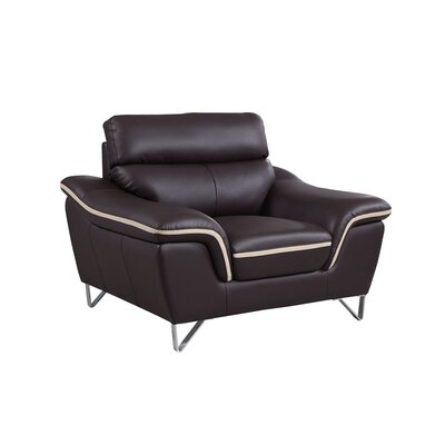 Hawks Upholstered Living Room Club Chair Upholstery: Brown