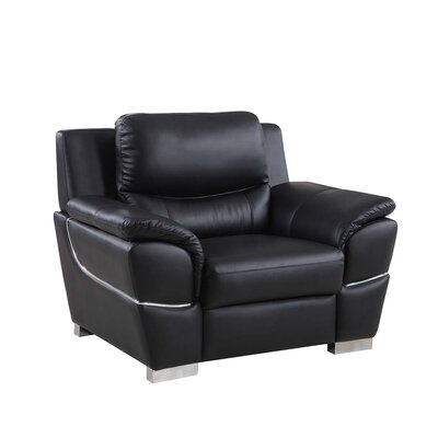 Henton Luxury Upholstered Living Room Club Chair Upholstery: Black
