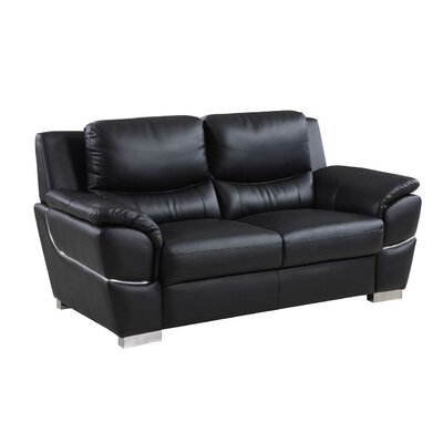 Henton Luxury Upholstered Living Room Loveseat Upholstery: Black