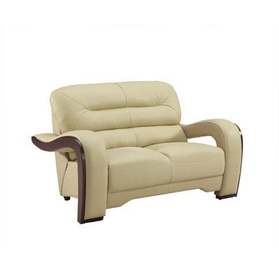 Hawkin Luxury Upholstered Living Room Loveseat Upholstery: Beige