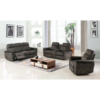Palu Fabric Upholstered 3 Piece Living Room Set Upholstery: Brown