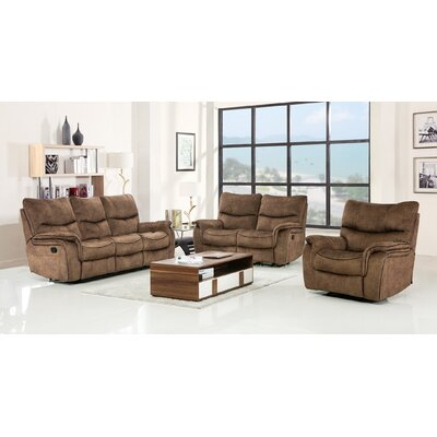 Palu Fabric Upholstered 3 Piece Living Room Set Upholstery: Tan