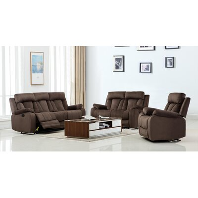 Troxler Microfiber Fabric Upholstered 3 Piece Living Room Set Upholstery: Brown