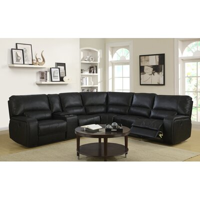 Trower Upholstered Power Reclining Sectional Upholstery: Black