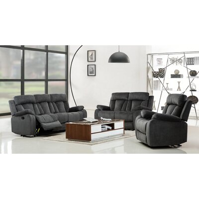 Troxler Microfiber Fabric Upholstered 3 Piece Living Room Set Upholstery: Gray