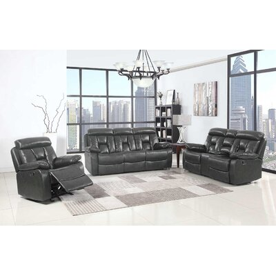 Claverton Down Air Upholstered 3 Piece Living Room Set Upholstery: Gray