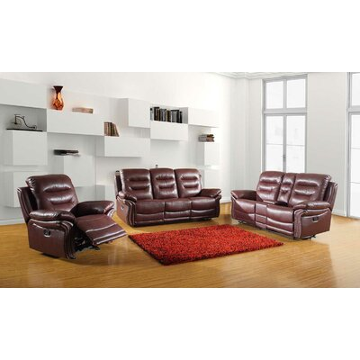 Trower Upholstered 3 Piece Living Room Set Upholstery: Burgundy