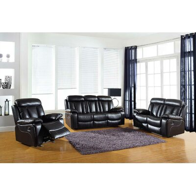 Trower Upholstered 3 Piece Living Room Set Upholstery: Black