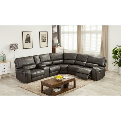 Trower Upholstered Power Reclining Sectional Upholstery: Gray