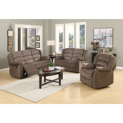 Updegraff Microfiber Fabric Upholstered 3 Piece Living Room Set Upholstery: Brown
