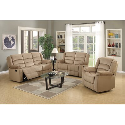 Updegraff Microfiber Fabric Upholstered 3 Piece Living Room Set Upholstery: Beige