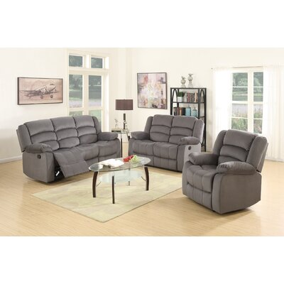 Updegraff Microfiber Fabric Upholstered 3 Piece Living Room Set Upholstery: Gray