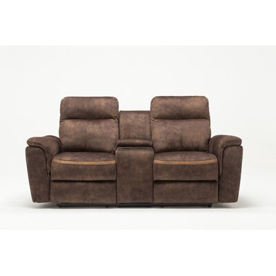Palu Fabric Upholstered Living Room Recliner Reclining Loveseat Upholstery: Brown