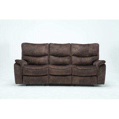 Palu Fabric Upholstered Living Room Recliner Reclining Sofa Upholstery: Brown
