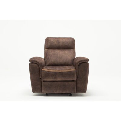 Palu Fabric Upholstered Living Room Manual Recliner Upholstery: Dark Brown