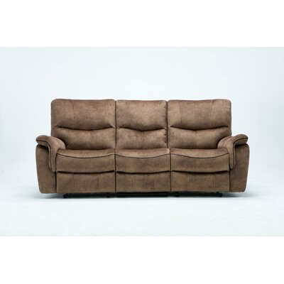 Palu Fabric Upholstered Living Room Recliner Reclining Sofa Upholstery: Tan
