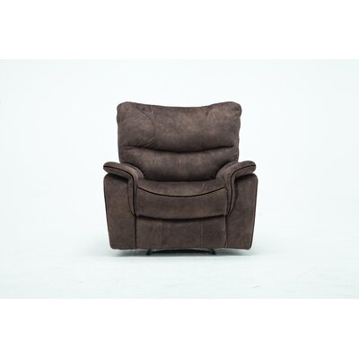 Palu Fabric Upholstered Living Room Manual Recliner Upholstery: Dark Brown