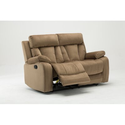 Ullery Upholstered Living Room Reclining Loveseat Upholstery: Beige