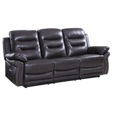 Ullery Upholstered Living Room Reclining Sofa Upholstery: Brown